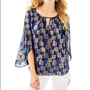 Lilly Pulitzer Beccer Silk Palm Clip Blouse